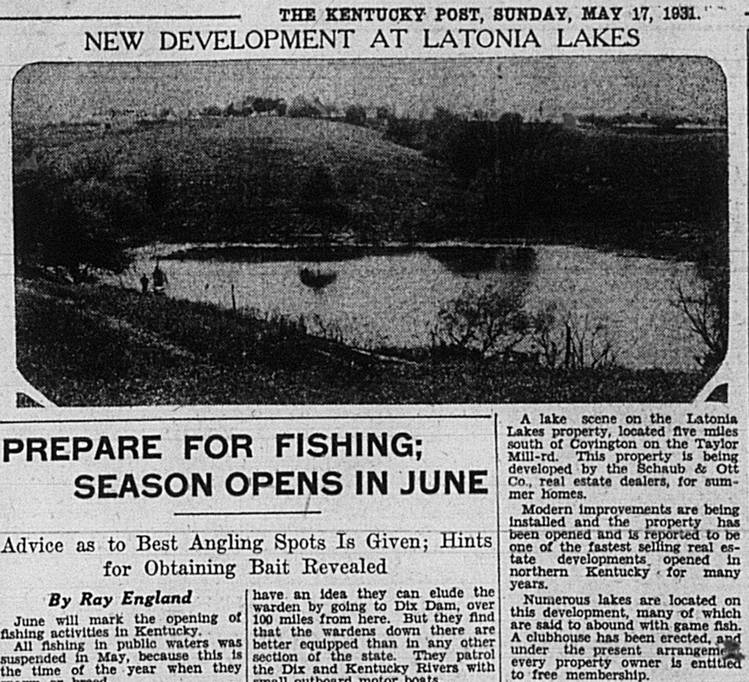 Historical Latonia Lakes Newspaper Clipping 2