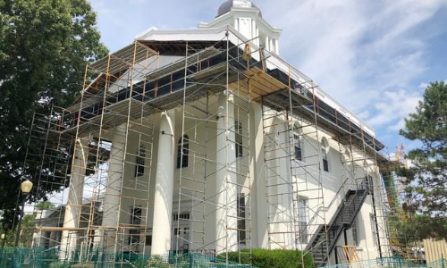 Scaffolding and construction at the Historic Kenton County Courthouse